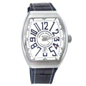 Franck Muller White Stainless Steel Vanguard V 45 SC DT AC BU Men's Wristwatch 44 mm