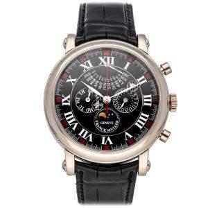 Franck Muller Black 18K White Gold Round Perpetual Calendar Retrograde Limited Edition 7008 CC QP E I Men's Wristwatch 44 MM