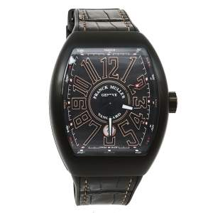 Franck Muller Black 18K Rose Gold & Titanium Leather Vanguard V 45 SC DT Men's Wristwatch 44 mm