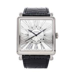 Franck Muller Silver 18k White Gold Master Square 6000KSCREL Men's Wristwatch 42 MM