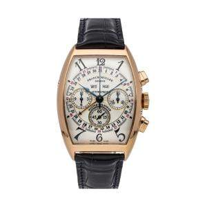 Franck Muller Silver 18K Yellow Gold Cintree Curvex Magnum Complete Calendar 6850 CC AT Men's Wristwatch 40 x 34 MM