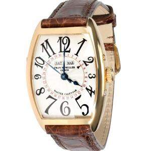 Franck Muller Silver 18K Yellow Gold Master Calendar 2852 MC Men's Wristwatch 31 MM