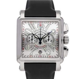 Franck Muller Silver Stainless Steel Cortez Conquistador Chronograph 10000HCCACE Men's Wristwatch 46 MM