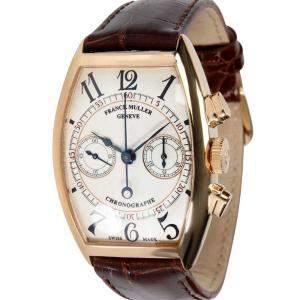 Franck Muller Silver 18K Rose Gold Casablanca 5850 CC Men's Wristwatch 31.5 MM