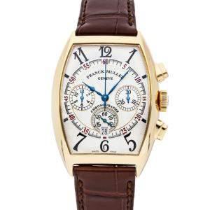 Franck Muller Silver 18K Rose Gold Cintree Curvex Chronograph 6850 CC AT Men's Wristwatch 34 x 40 MM