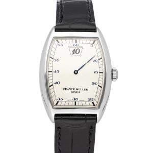 Franck Muller Silver Platinum Cintree Curvex Jump Hour 7500 SC Men's Wristwatch 38 x 29 MM