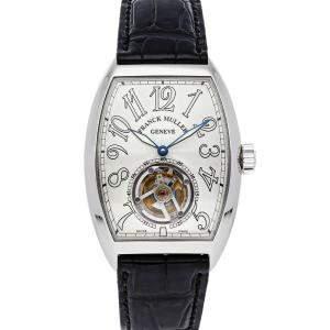 Franck Muller Silver Platinum Cintree Curvex Master Imperial Tourbillon 7851 T Men's Wristwatch 42 x 35 MM
