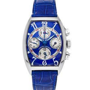 Franck Muller Blue Stainless Steel Cintree Curvex Chrono Banker 7850 CCMB Men's Wristwatch 42 x 35 MM