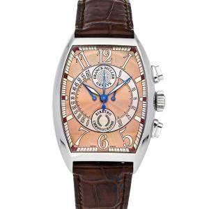 Franck Muller Rose Stainless Steel Cintree Curvex Chronographe Biretrograde 7850 CC B Men's Wristwatch 42 x 35 MM