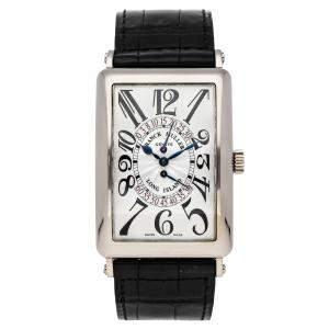 Franck Muller Silver 18k White Gold Long Island 1100 LONG WGE Men's Wristwatch 33 x 45 MM