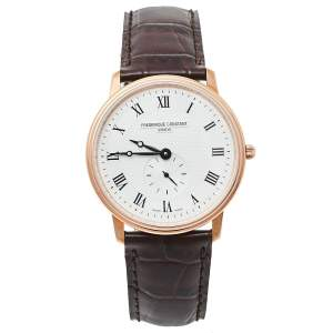 Frederique Constant Silver Rose Gold Plated Stainless Steel Slimline FC-235M4S4 Men's Wristwatch 37 mm