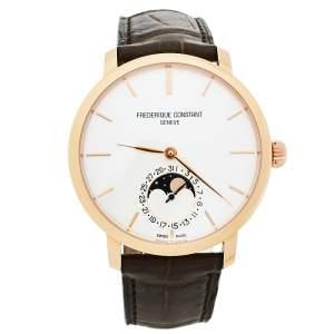 """ساعة يد رجالية فريدريك كونستانت """"سليملاين"""" مراحل القمر ستانلس ستيل مطلي بالذهب لاوردي و جلد 42 مم"""
