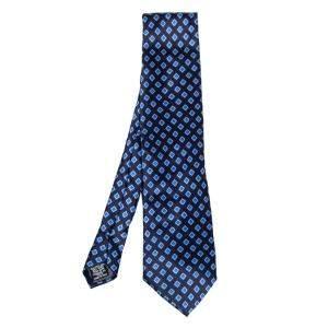 Gianfranco Ferre Navy Blue Geometric Print Silk Traditional Tie