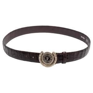 حزام جيانفرانكو فيري بادج شعار جلد تمساح بني 95 سم