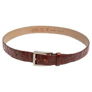 Gianfranco Ferre Brown Crocodile Leather Buckle Belt 105CM