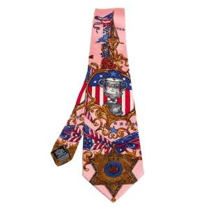 ربطة عنق جيانفرانكو فيري حرير مطبوع تروفي وردي فينتدج
