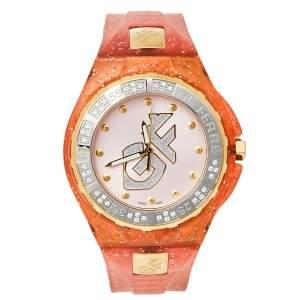 ساعة يد رجالية جيانفرانكو فيري GF.9024J-17Z مطاط وستانلس ستيل ثنائي اللون وردي  43 مم