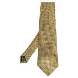 ربطة عنق جياني فيرساتشي فينتدج جاكارد حرير نمط هندسي أصفر