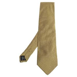 Gianni Versace Vintage Yellow Geometric Pattern Silk Jacquard Tie