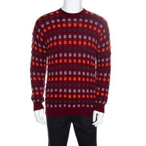 Giorgio Armani Maroon Textured Dotted Sweater M
