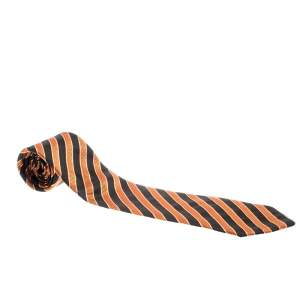 Giorgio Armani Vintage Orange and Black Diagonal Striped Silk Jacquard Tie