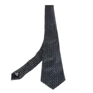 Giorgio Armani Navy Blue Diagonal Stripe Detail Silk Tie