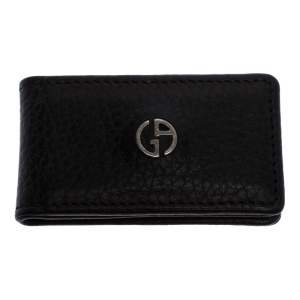 Giorgio Armani Dark Brown Leather Magnet Money Clip