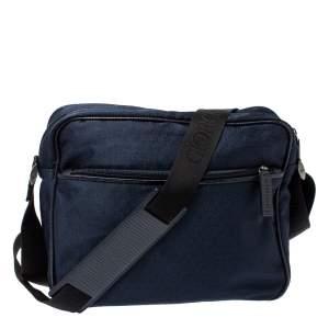 Giorgio Armani Navy Blue Monogram Fabric and Leather Front Zip Pocket Messenger Bag