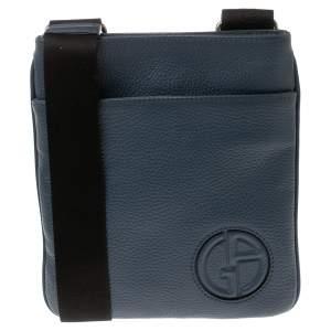 Giorgio Armani Ash Blue Leather Piattina Messenger Bag