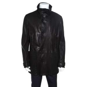 Giorgio Armani Black Lambskin Leather High Neck Jacket XL