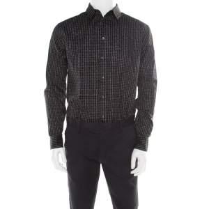 Giorgio Armani Black Misplaced Square Printed Cotton Button Front Shirt L