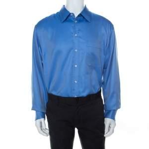 قميص جورجيو أرماني كلاسيكو مقلم متعرج أكمام طويلة قطن أزرق 3XL
