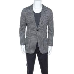 Giorgio Armani Monochrome Geometric Pattern Jersey Blazer L