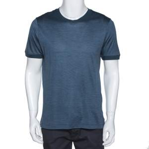Giorgio Armani Steel Blue Silk Crew Neck T-Shirt XL