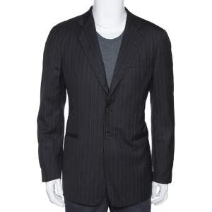 Giorgio Armani Black Pinstripe Wool Two Buttoned Blazer L