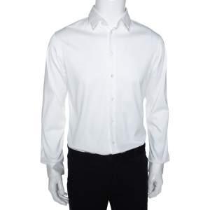 Giorgio Armani Off White Cotton Jersey Button Front Shirt M