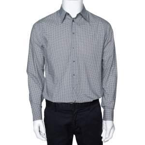 Giorgio Armani Monochrome Check Print Cotton Long Sleeve Shirt M