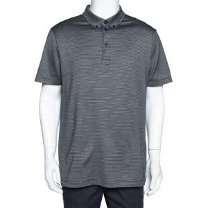 Giorgio Armani Black Silk & Cotton Stripe Pattern Knit Polo T-Shirt 3XL