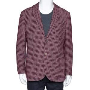 Giorgio Armani Red Cotton Jacquard Tokyo Jacket XXXL