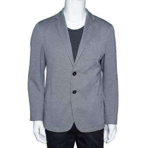 Giorgio Armani Monochrome Patterned Knit Upton Blazer XXL