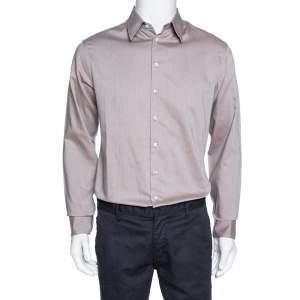 Giorgio Armani Brown Diagonal Striped Cotton Long Sleeve Shirt M