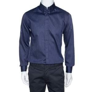 Giorgio Armani Navy Blue Pinstriped Cotton Long Sleeve Shirt M
