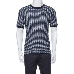 Giorgio Armani Navy Blue Textured Knit Fitted Crew Neck T-Shirt XL