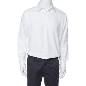Giorgio Armani White Cotton French Cuff Dress Shirt L