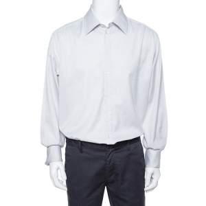 Giorgio Armani Pale Grey Cotton French Cuff Long Sleeve Shirt 3XL