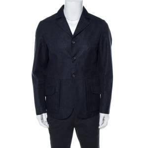 Giorgio Armani Navy Blue Linen & Wool Three Buttoned Jacket XL