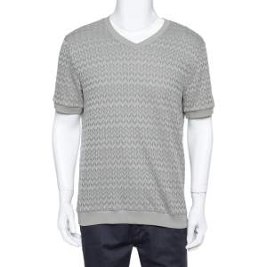 Giorgio Armani Grey Chevron Knit Short Sleeve Sweater 2XL