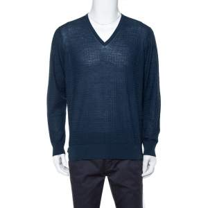 Giorgio Armani Navy Blue Jaquard Knit V-Neck Sweater XXL