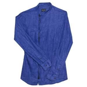 Giorgio Armani Blue Linen Stand Collar Zipper Front Shirt S