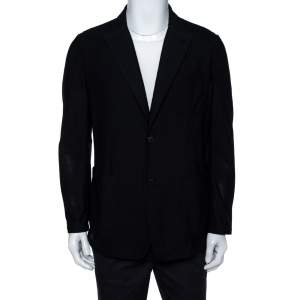 Giorgio Armani Midnight Blue Mesh Button Front Blazer XXL